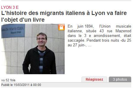 Article du Progrès - Livre sur l'immigration italienne à Lyon - 15.03.2011