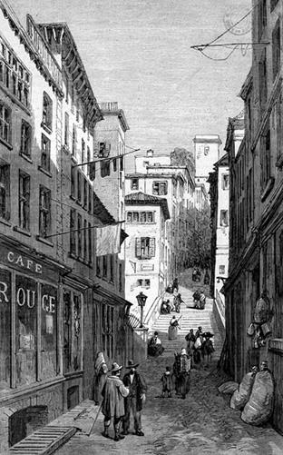 Une rue du quartier des Canuts au 19e siècle